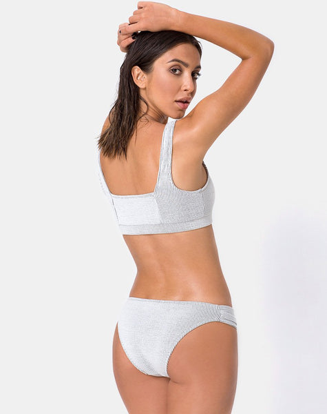 Shani Bikini Top in Crinkle Rib White by Motel