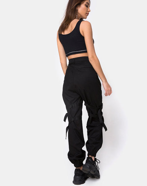 Shano Crop Top in Black With White Piping by Motel