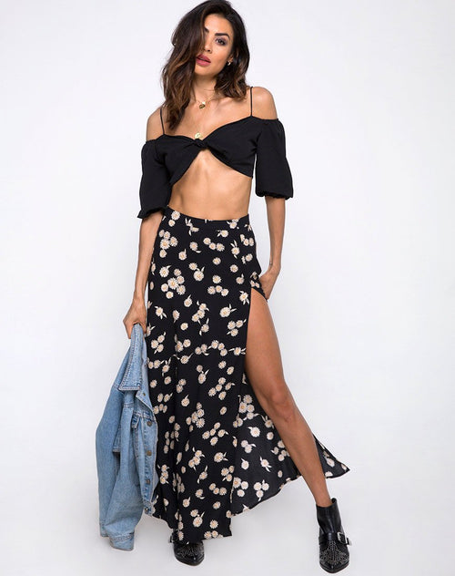 Shayk Maxi Skirt in Grunge Daisy Floral by Motel