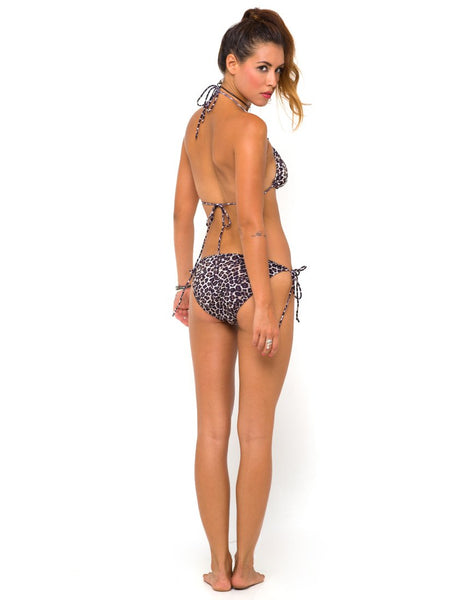 Motel Sherbet Tie Bikini Bottoms in 90s Leopard Print