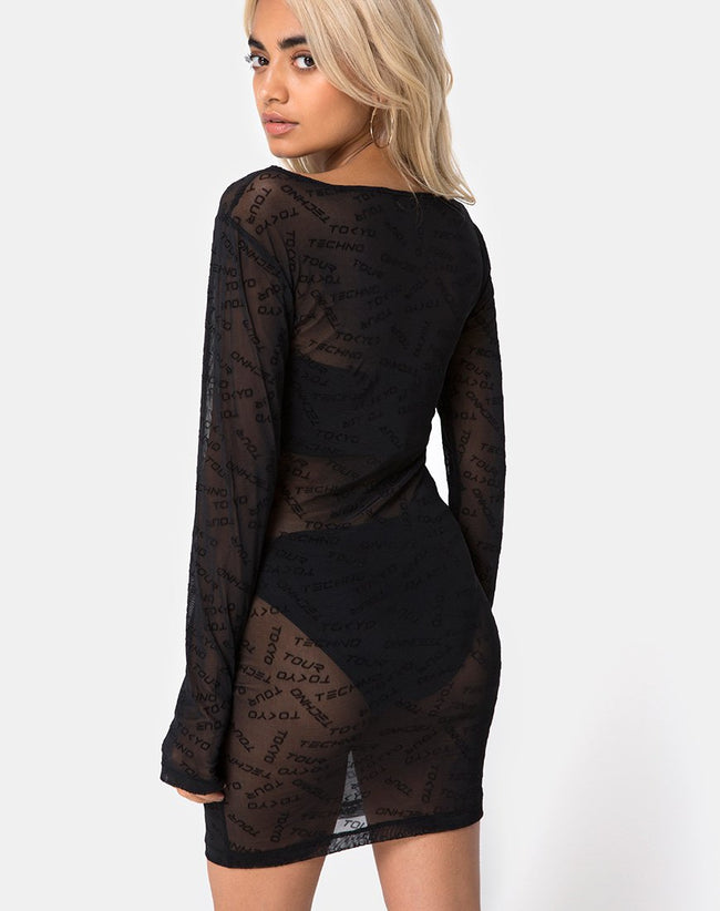 Shimye Bodycon Dress in Tokyo Techno Black Net by Motel