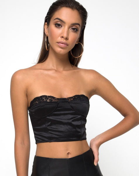 Shisui Bralet In Black satin with Lace by Motel