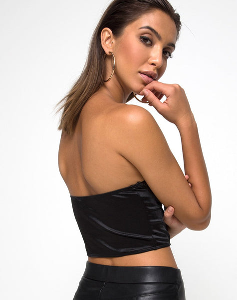 Shisui Bralet In Black satin with Lace