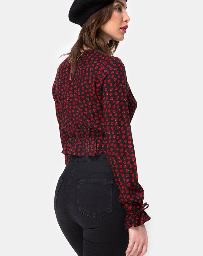 Sibel Top in Dotty Rose Black By Motel