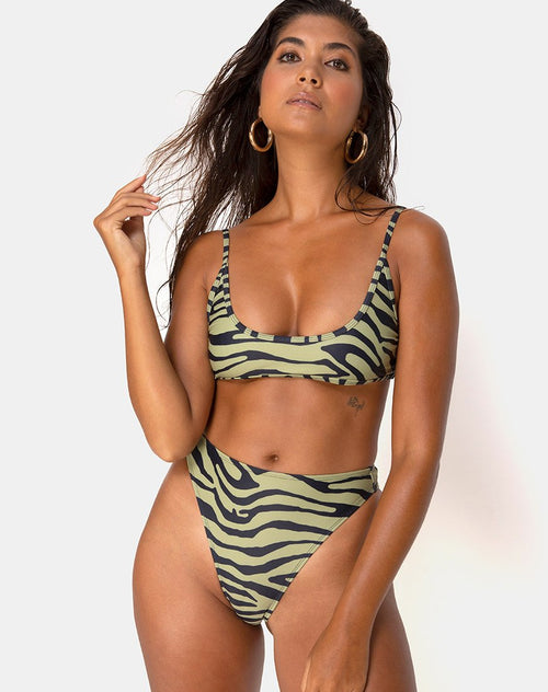 Sikila Bikini Top in Khaki Tiger by Motel