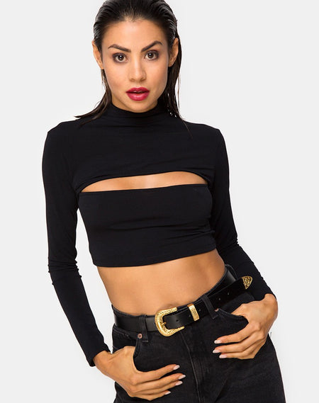 Kalica Crop Top in Rib Black by Motel