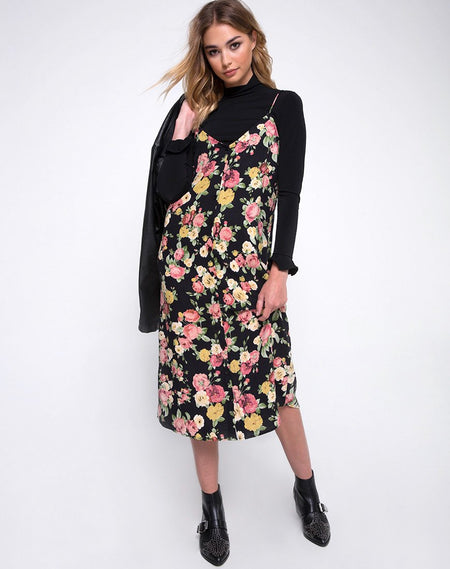 Keylo Slip Dress in Bloom Floral by Motel