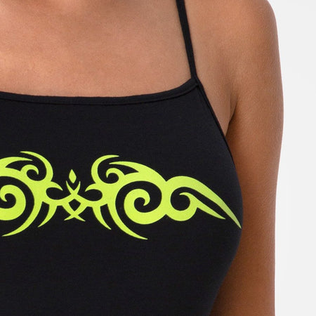 Solemo Bodice in Black with Green Tribal by Motel