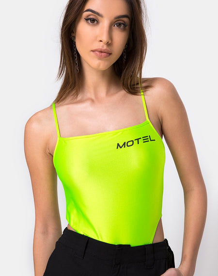 Betina Bodice in Slime Lime Snake Mesh by Motel