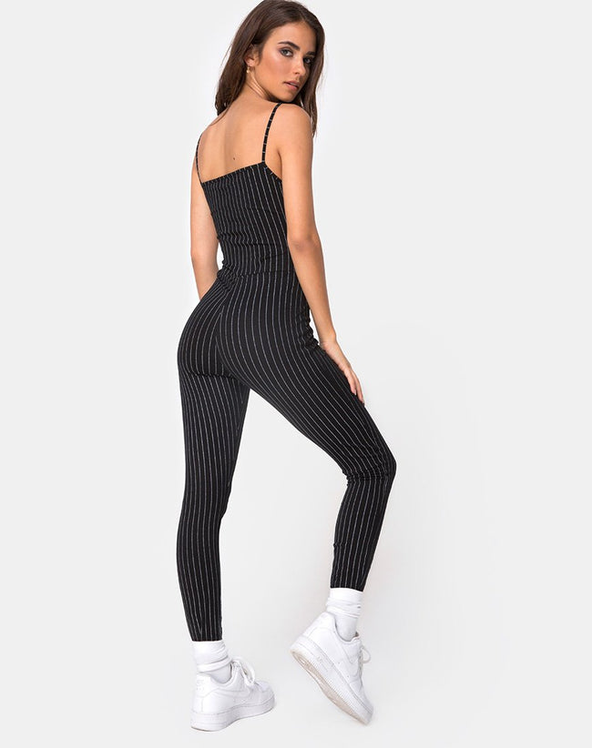 Solita Unitard in Pinstripe Black by Motel