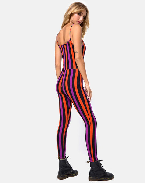 Solita Unitard in Purple and Orange Stripe by Motel