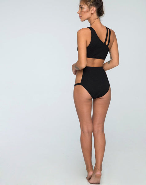Still Water Cutout Bikini Bottom in Black by Motel