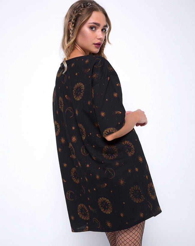 Sunjass Swing Dress in Celestial Black by Motel