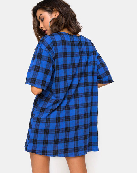 Sunny Kiss T Shirt Dress in Tartan Blue By Motel