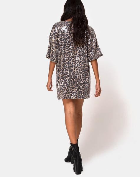 Sunny Kiss Oversize Tee in Leopard with Clear Sequin