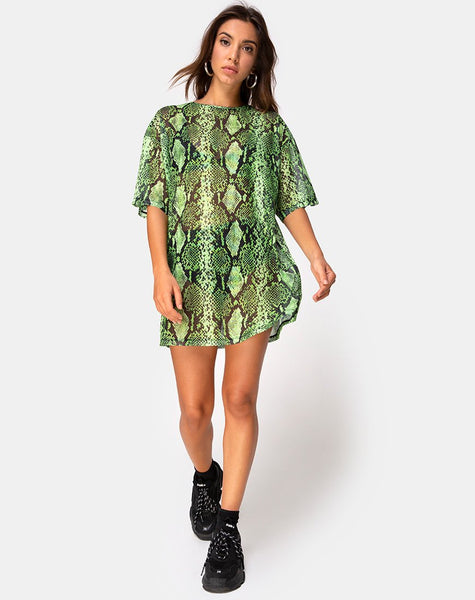 Sunny Kiss Oversize Tee in Slime Lime Snake Mesh by Motel