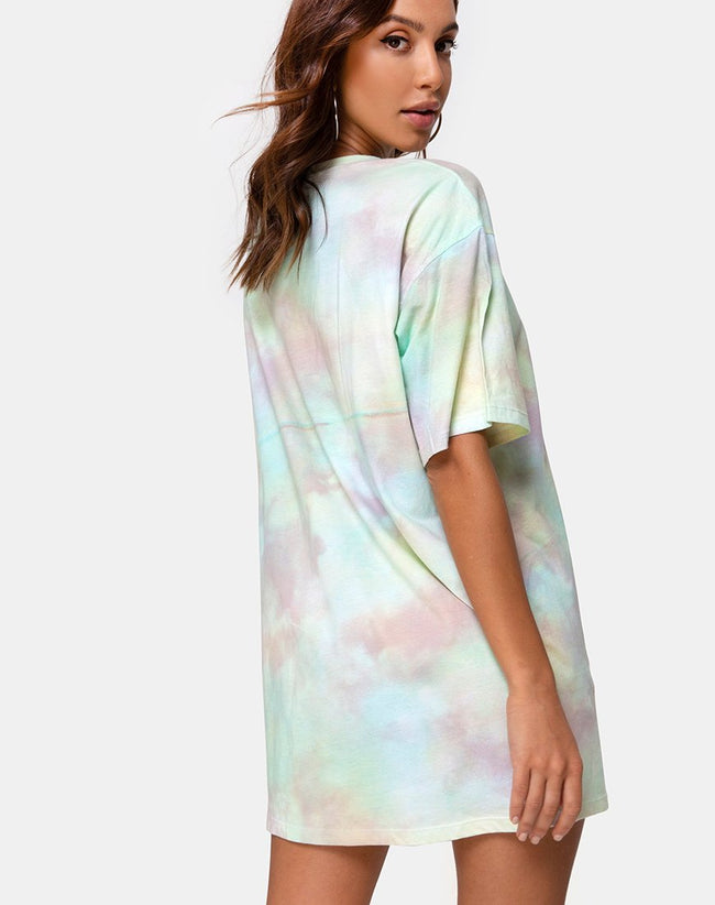 Sunny Kiss Tee Dress in Pastel Tie Dye by Motel