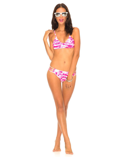 Motel Sunstone Strappy Bikini Bottom in Monorose Pink