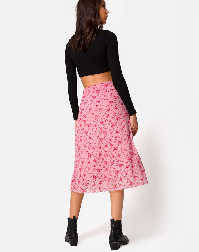 Taura Skirt in Love Bloom Pink Flock by Motel
