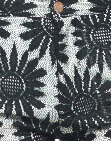 Motel Taylor Short in Black and White Sunflower Lace