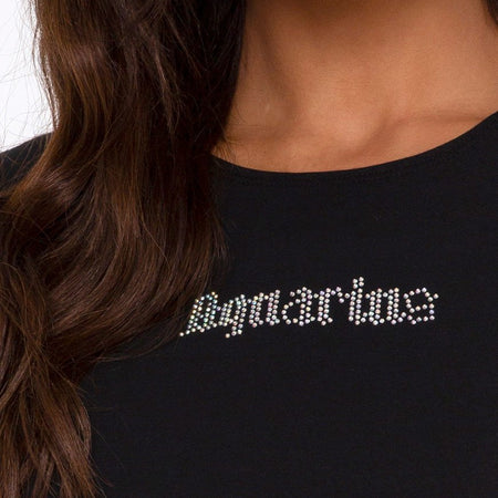 "Tiney Crop Tee in Black ""Aquarius"" Diamante by Motel"