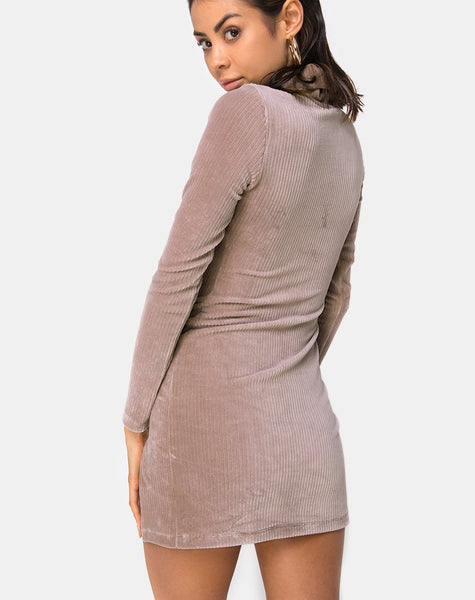 Tor Dress in Velvet Rib Taupe By Motel