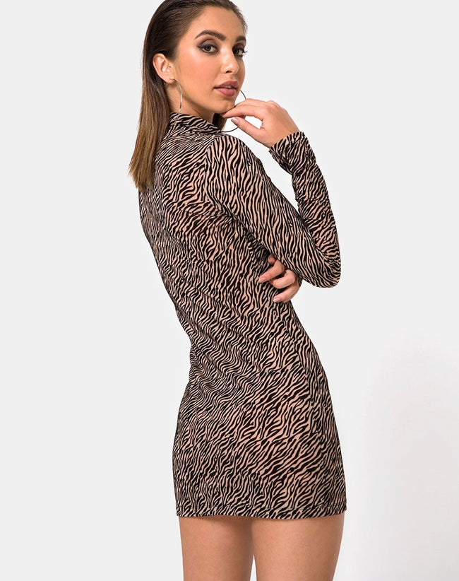 Torin Bodycon Dress in Tiger Net Tan By Motel