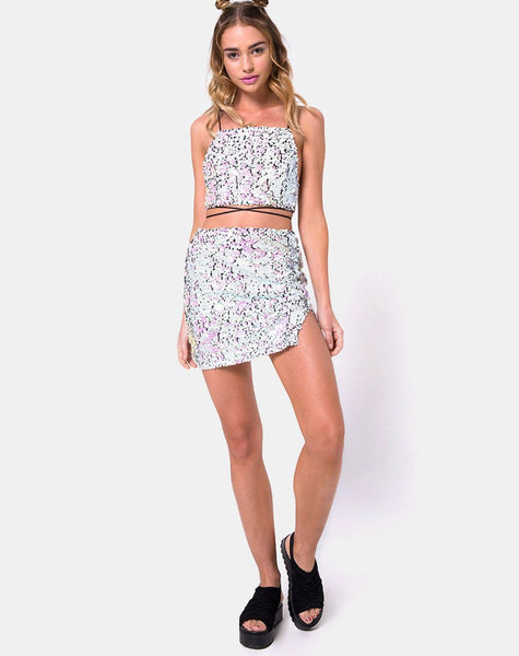 Truman Crop Top in Fishcale Sequin Iridescent Black Pearl