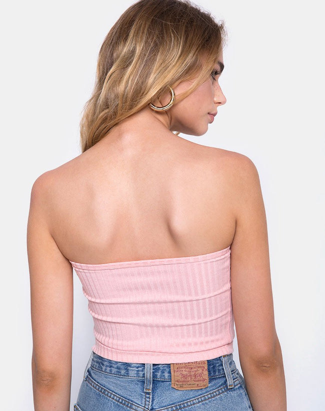 Tube Top in Ribbed Blush by Motel