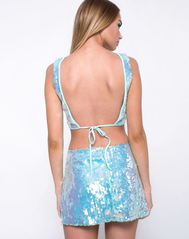 Faith Crop Top in Row Sequin Ice Shimmer by Motel