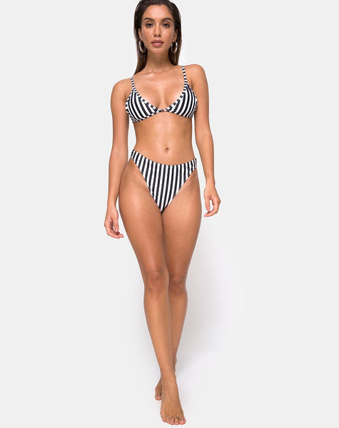 Vader Bikini Bottom in Black and White Stripe by Motel
