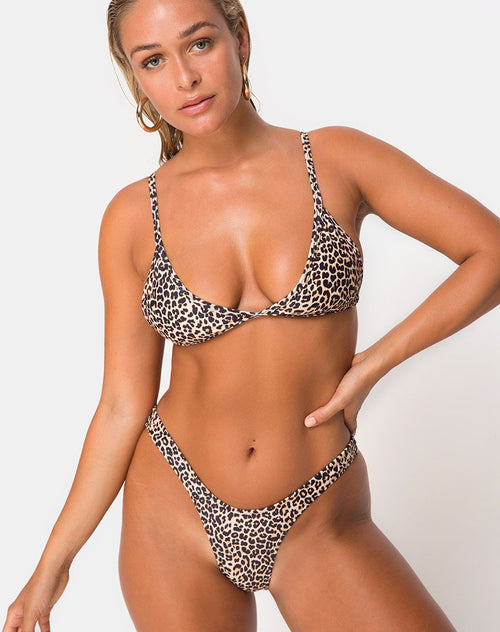 Valda Bikini Top in Rar Leopard by Motel