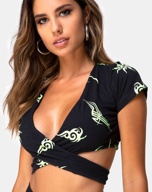 Valiza Top in Black with Tribal Repeat by Motel