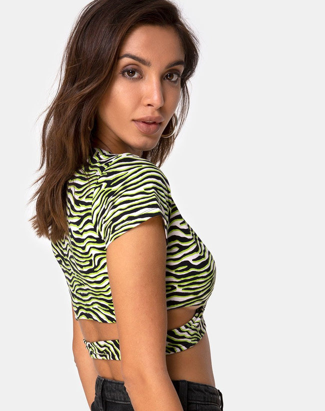 Valiza Top in Zebra Fluro Green by Motel