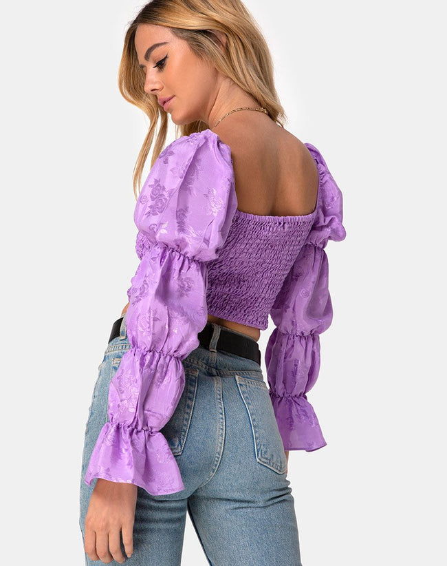 Velina Top in Satin Rose Lilac by Motel