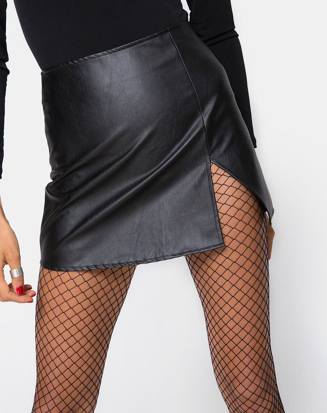 Wren Mini Skirt in Pu Black by Motel