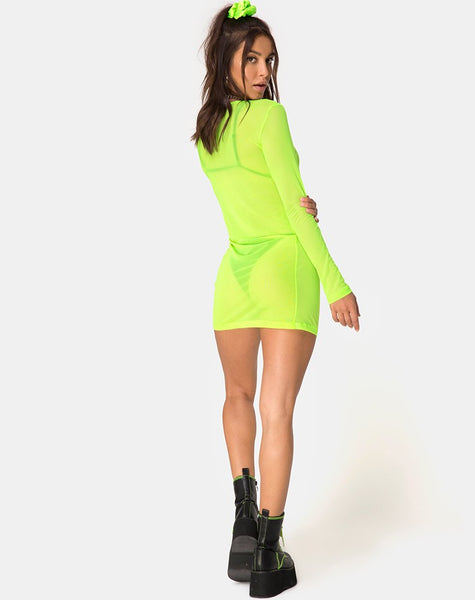 Wyatt Bodycon Dress in Fluro Yellow by Motel
