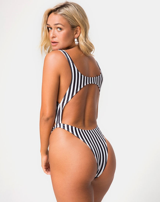 Xeona Swimsuit in Black and White Stripe by Motel