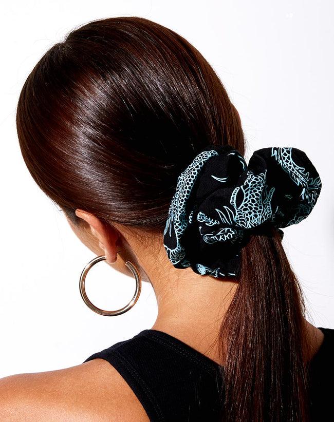 XL Scrunchie in Dragon Flower Black and Mint