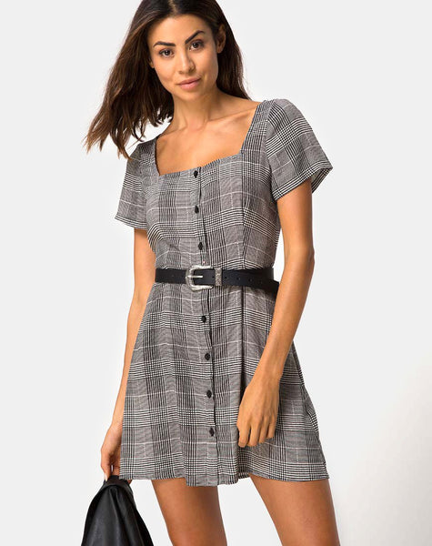 Zavacca Mini Dress in Charles Check Grey By Motel
