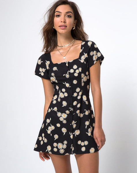 Zavacca Tea Dress in Grunge Daisy Floral by Motel