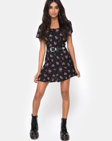 Zavacca Mini Dress in Sohey Rose Black By Motel