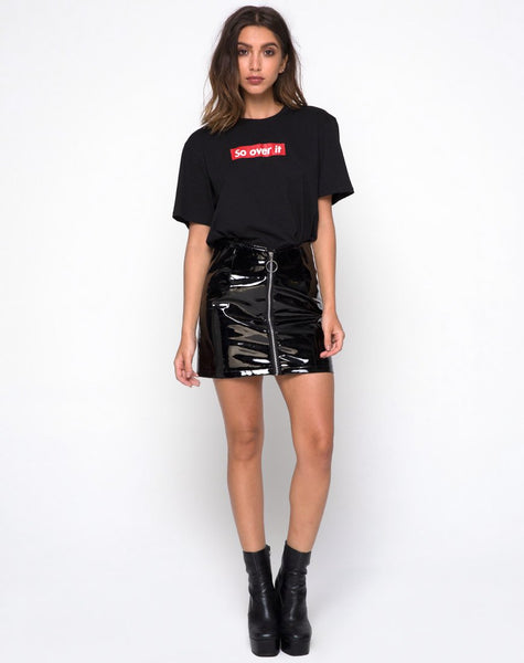 Ring Mini Skirt in PU Shiny Black by Motel