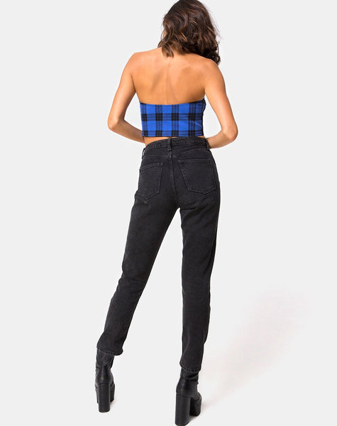 Zipshi Cropped Top in Tartan Blue By Motel