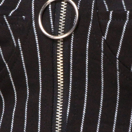 Zipshi Top in Pinstripe Black By Motel