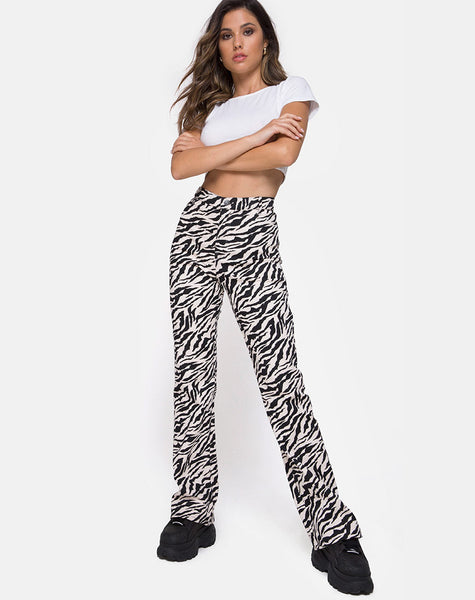 Zoven Trouser in 90's Zebra Black and White by Motel