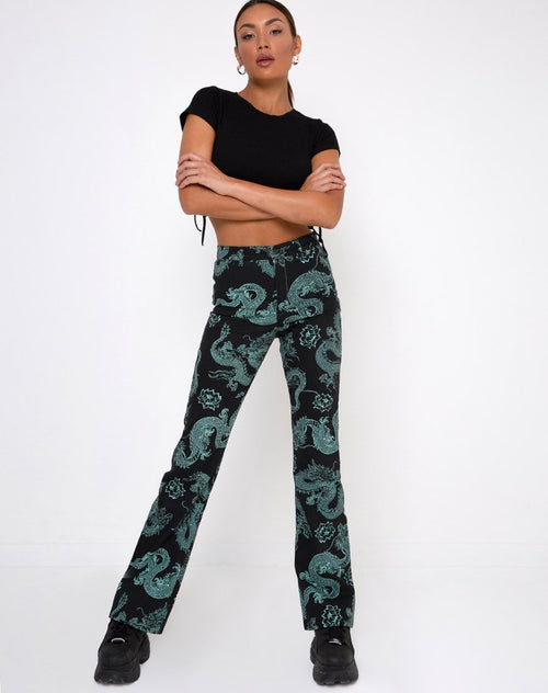 Zoven Trouser in Dragon Flower Black and Mint by Motel