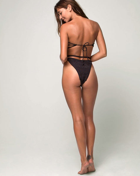 Elle Swimsuit in Glitter Black by Motel