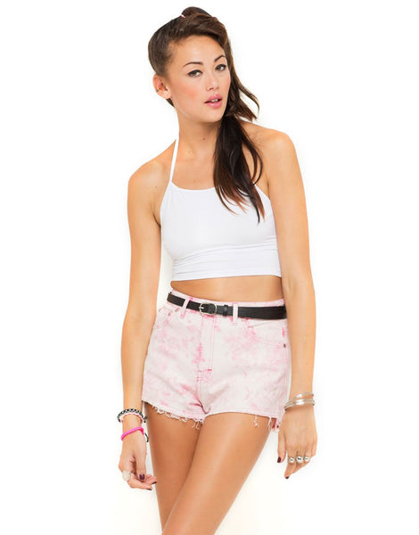 Motel Fonda Halter Crop Top in White