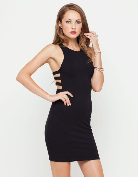 Motel Hailey Cut Out Bodycon Dress in Black